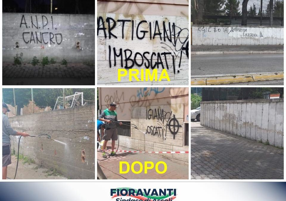 Rimosse le deplorevoli scritte apparse nei giorni scorsi sui muri della nostra città!